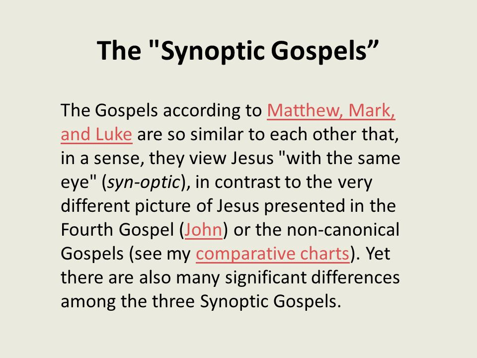 compare and contrast the synoptic gospels
