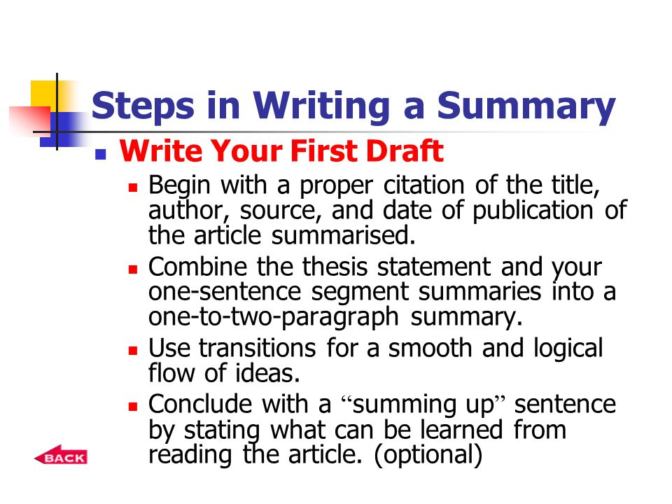 how to write a good summary of an article