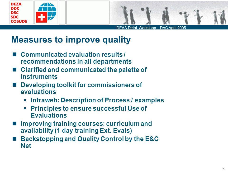 IDEAS Delhi, Workshop – DAC April Independent Evaluation « Quality