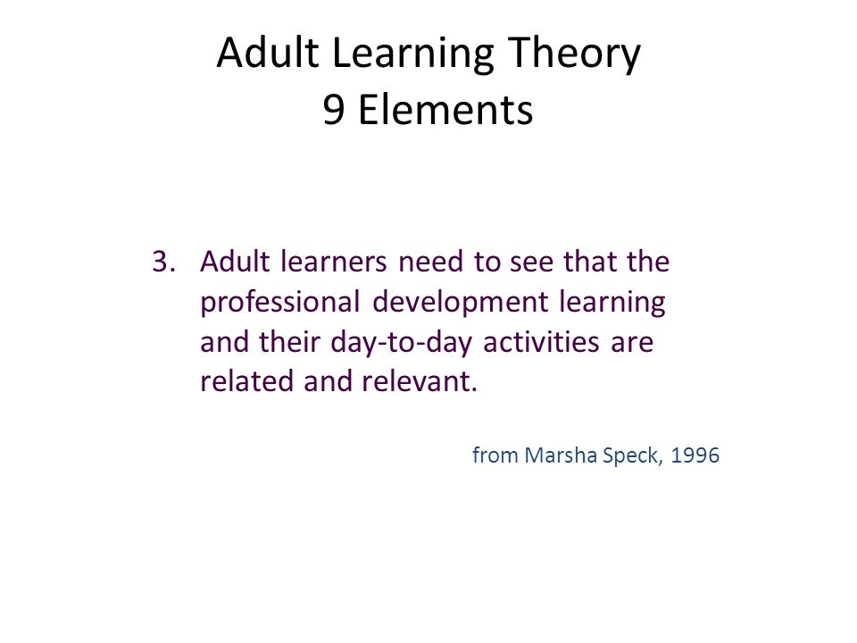 theory Adult development learning