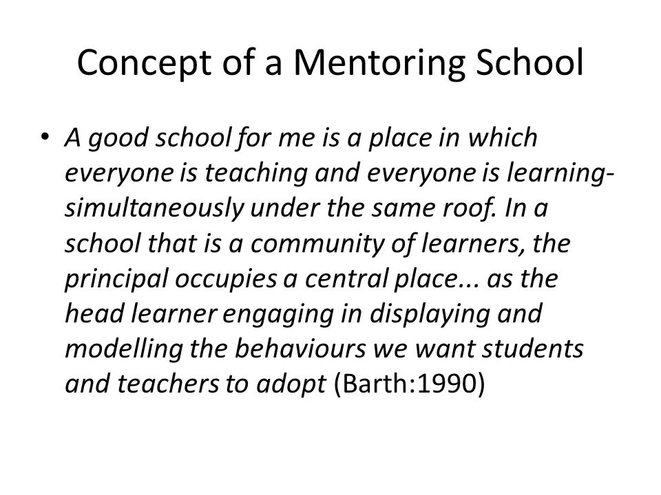Concept of a Mentoring School A good school for me is a place in which everyone is teaching and everyone is learning- simultaneously under the same roof.