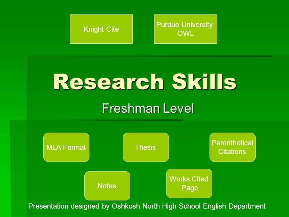 research skills freshman level mla format notes thesis parenthetical