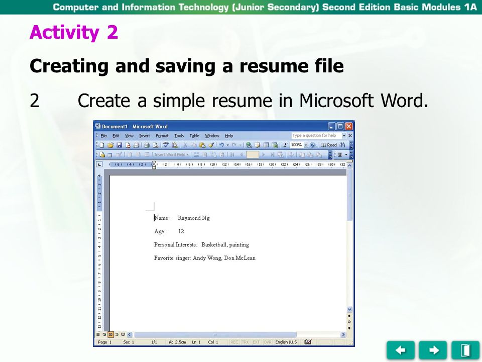 In This Activity We Are Going To Create A Resume File With