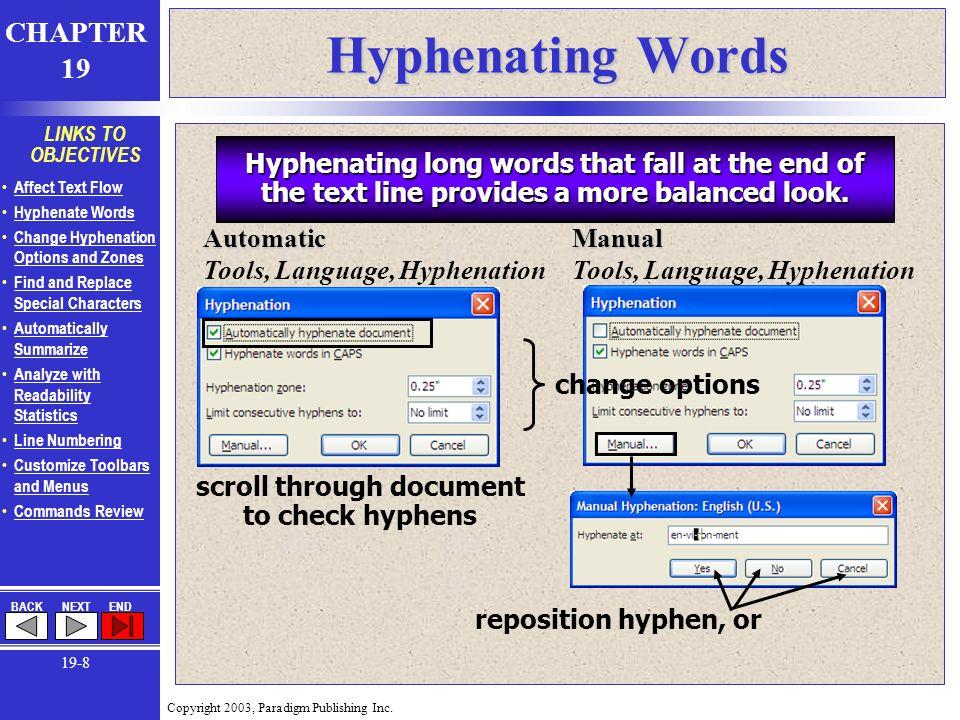 Chapter 19  Copyright 2003, Paradigm Publishing Inc  CHAPTER 19