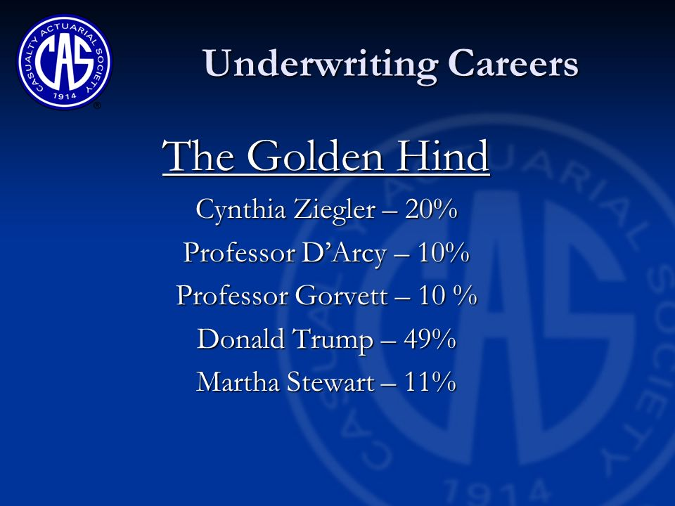 Underwriting Association Careers October 20 2006 Cynthia R