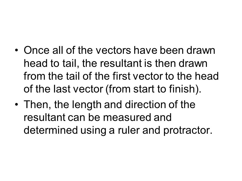 Once all of the vectors have been drawn head to tail, the resultant is then drawn from the tail of the first vector to the head of the last vector (from start to finish).