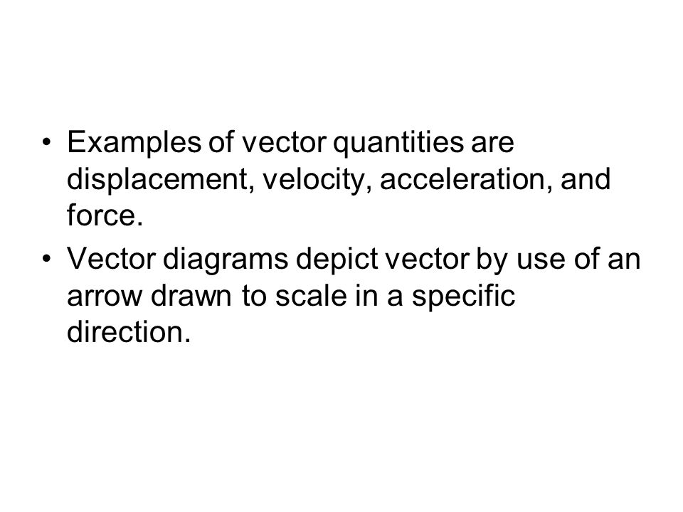 Examples of vector quantities are displacement, velocity, acceleration, and force.