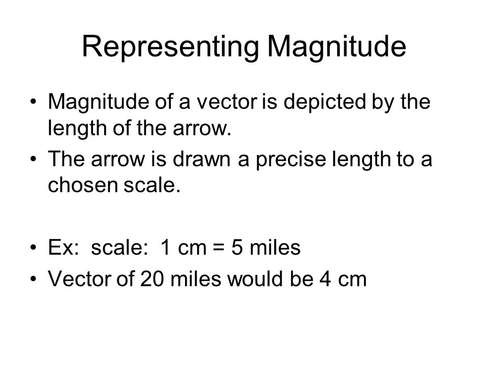 Representing Magnitude Magnitude of a vector is depicted by the length of the arrow.