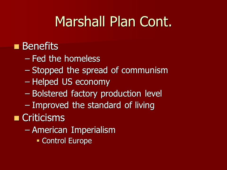 Marshall Plan June 5, 1947 June 5, 1947 Created by George C.