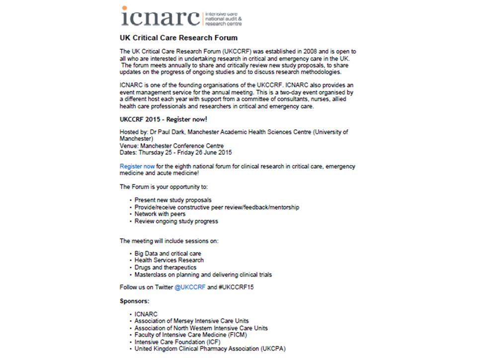 Developing a National Critical Care Clinical Research