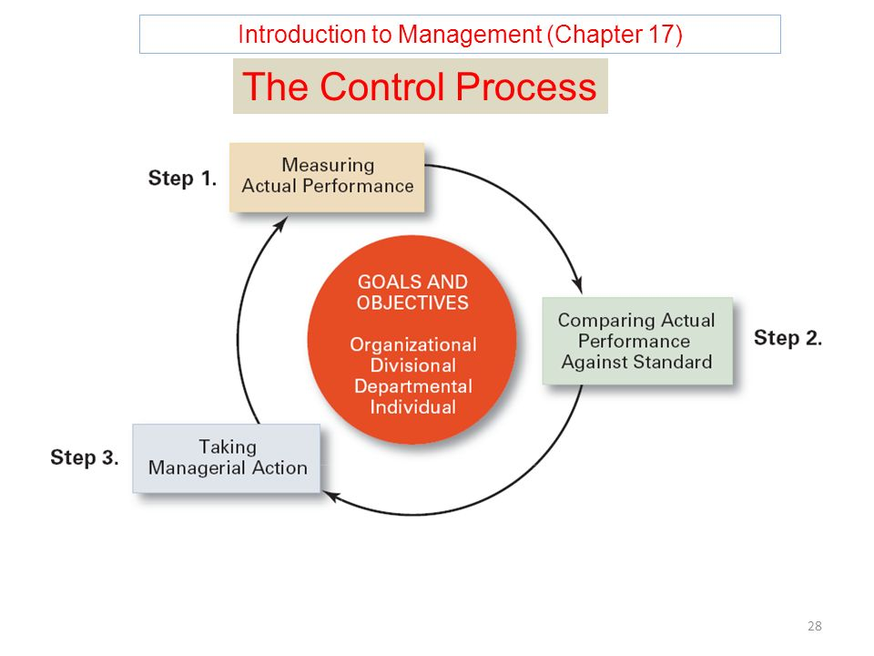 Introduction to Management (Chapter 17) 28 The Control Process