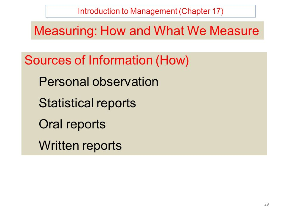 Introduction to Management (Chapter 17) 29 Measuring: How and What We Measure Sources of Information (How) Personal observation Statistical reports Oral reports Written reports