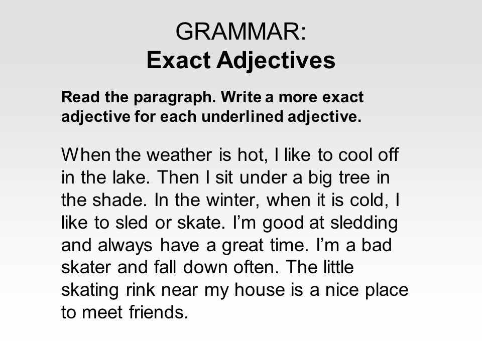 adjectives to use in writing
