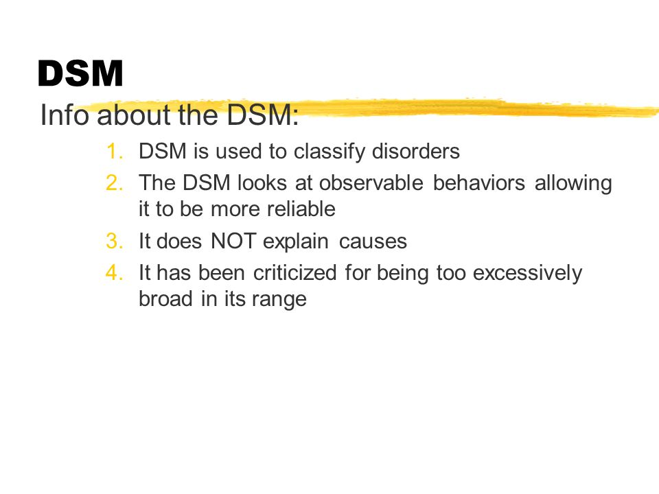 Classifying Disorders DSM-IV  American Psychiatric Association's Diagnostic and Statistical Manual of Mental Disorders  a widely used system for classifying psychological disorders  presently distributed as DSM-IV-TR (text revision)