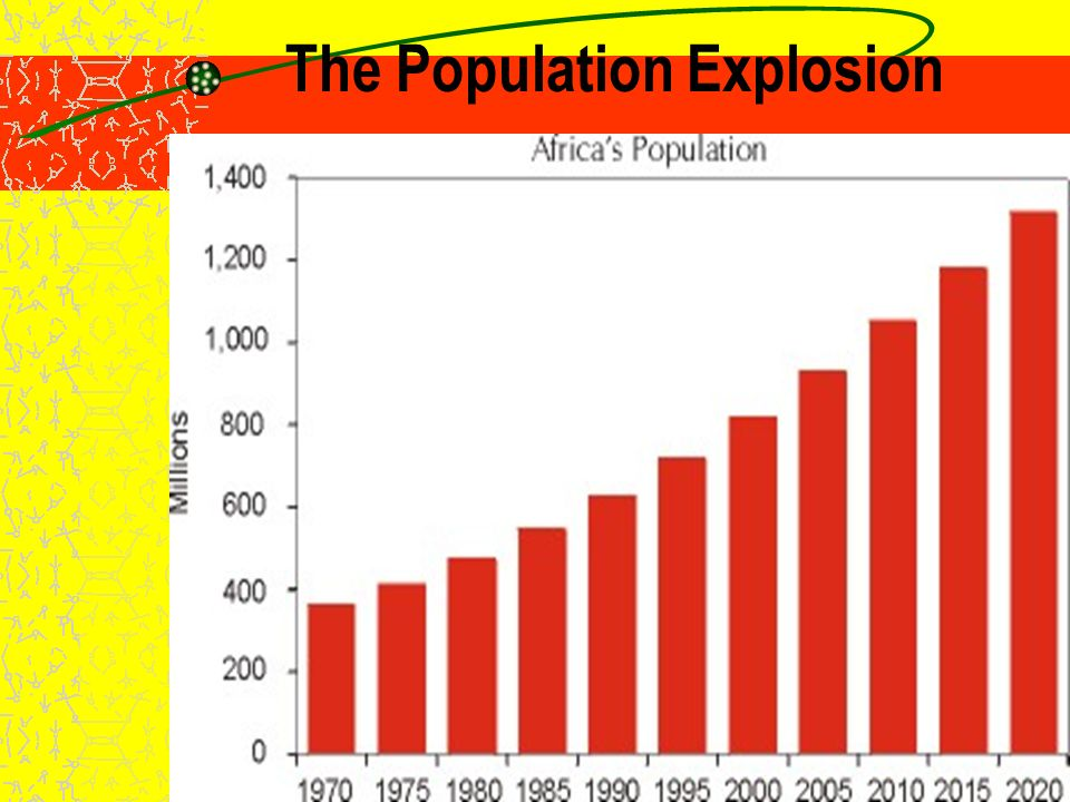 The Population Explosion Africa's population has risen steadily since independence –Currently 1.03 billion; high birth rate has recently been moderated by impact of AIDS –Projected to double by 2025 Consequences: –Strain on government resources –Changing ideas about families