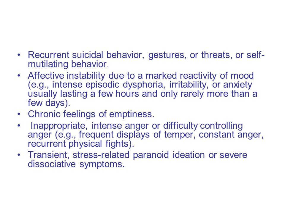 Differential Diagnosis: Borderline Personality Disorder DSM