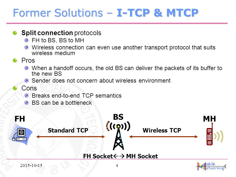 Obile etworking M-TCP : TCP for Mobile Cellular Networks