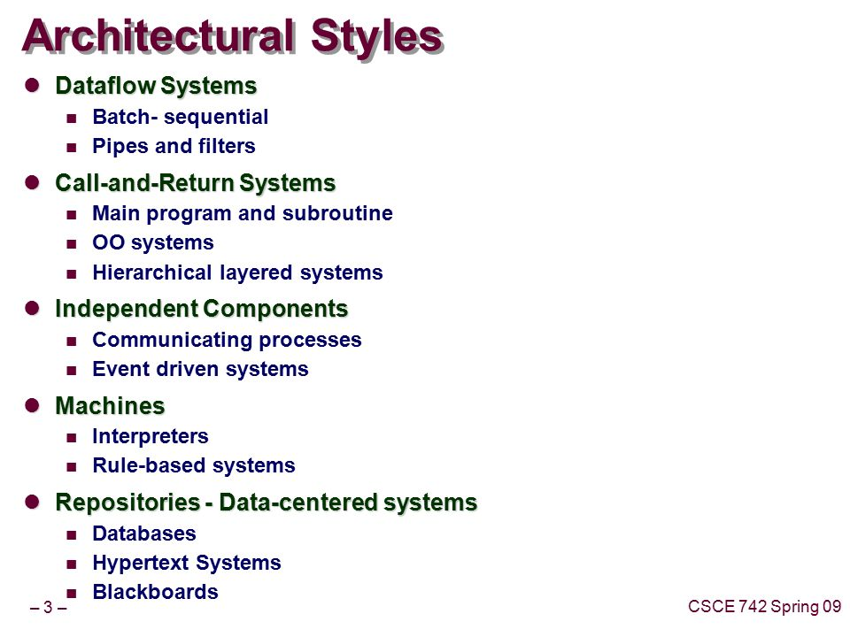 Lecture 2 Introductory Case Studies Topics Architectural Styles Key