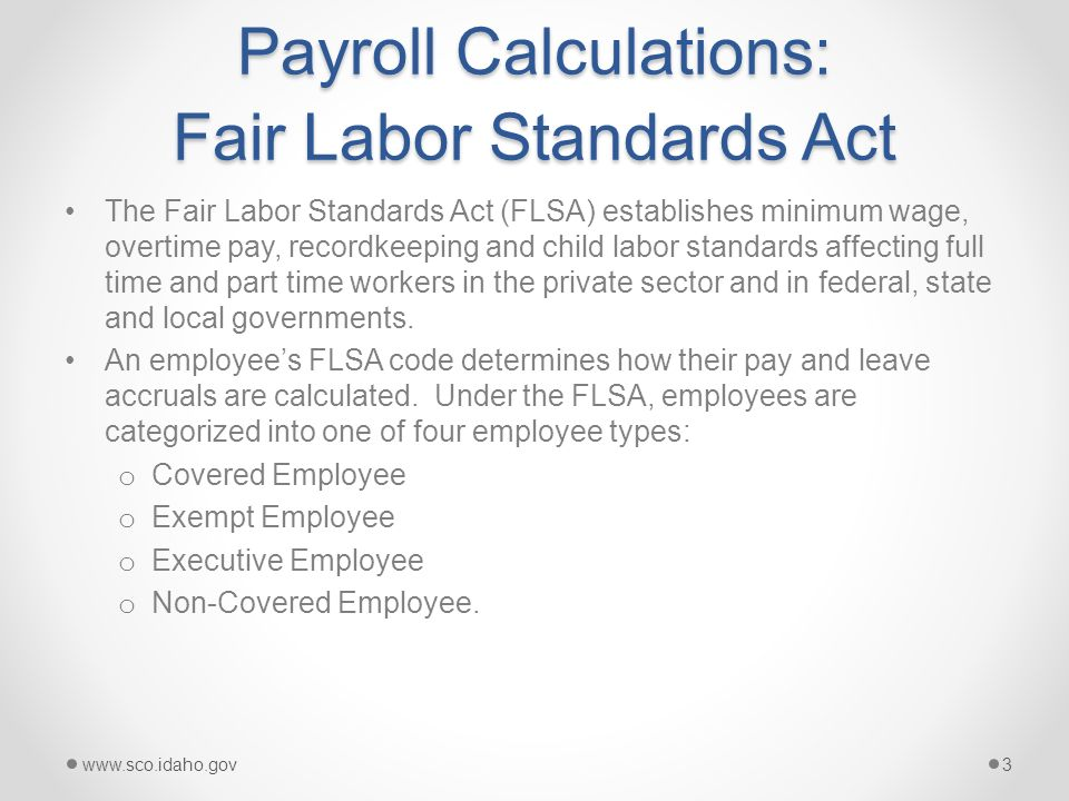 Payroll Calculation This presentation covers the following ...