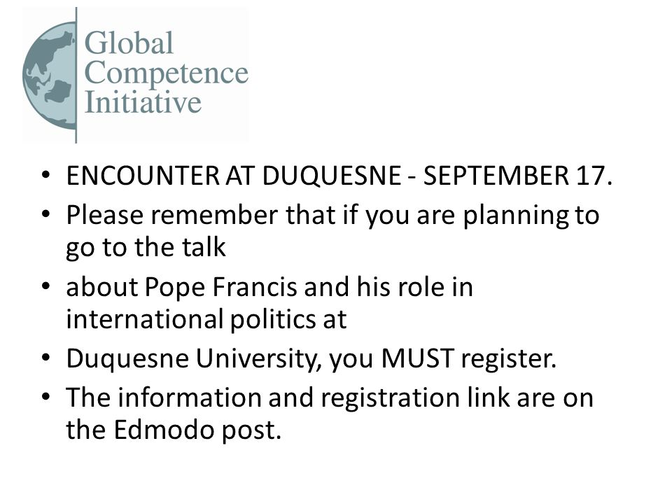 ENCOUNTER AT DUQUESNE - SEPTEMBER 17.
