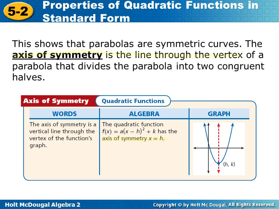 Holt McDougal Algebra Properties of Quadratic Functions in Standard Form This shows that parabolas are symmetric curves.