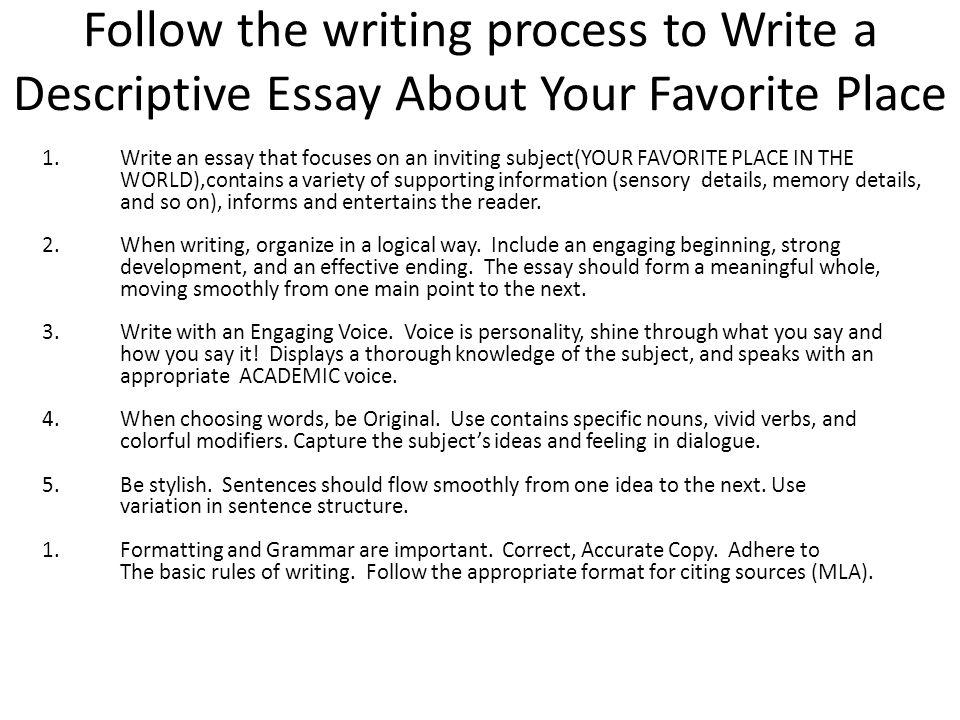 ways to start a descriptive essay