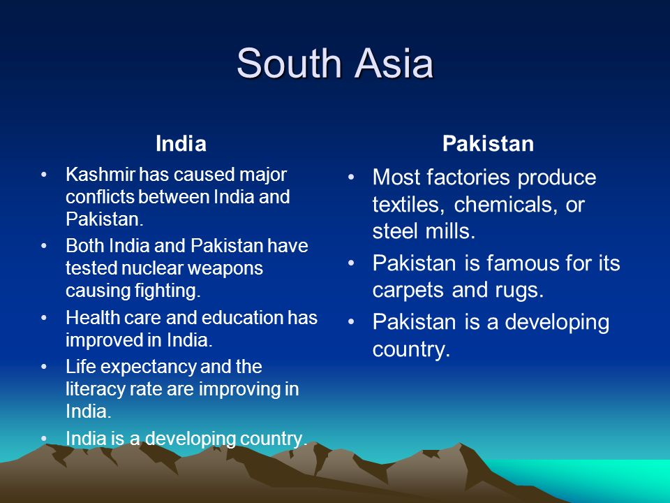 South Asia India Kashmir has caused major conflicts between India and Pakistan.