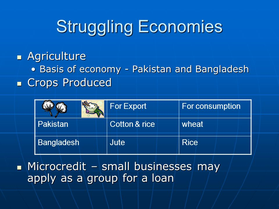 Struggling Economies Agriculture Agriculture Basis of economy - Pakistan and BangladeshBasis of economy - Pakistan and Bangladesh Crops Produced Crops Produced Microcredit – small businesses may apply as a group for a loan Microcredit – small businesses may apply as a group for a loan For ExportFor consumption PakistanCotton & ricewheat BangladeshJuteRice