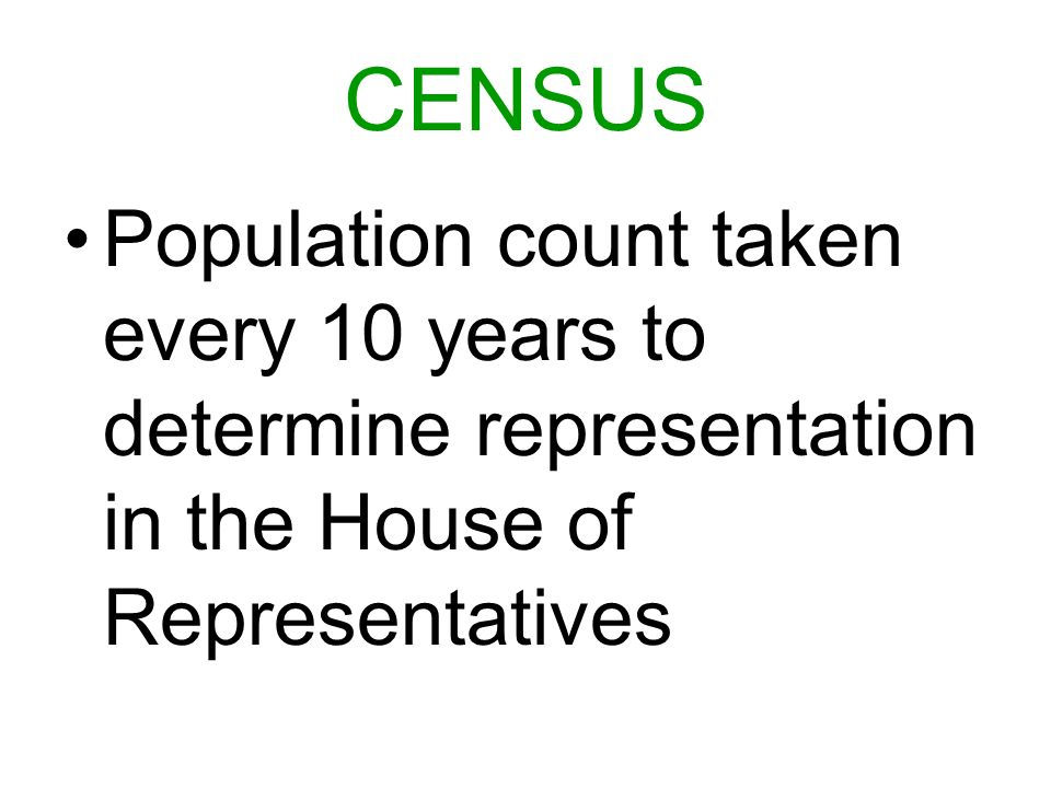 CENSUS Population count taken every 10 years to determine representation in the House of Representatives