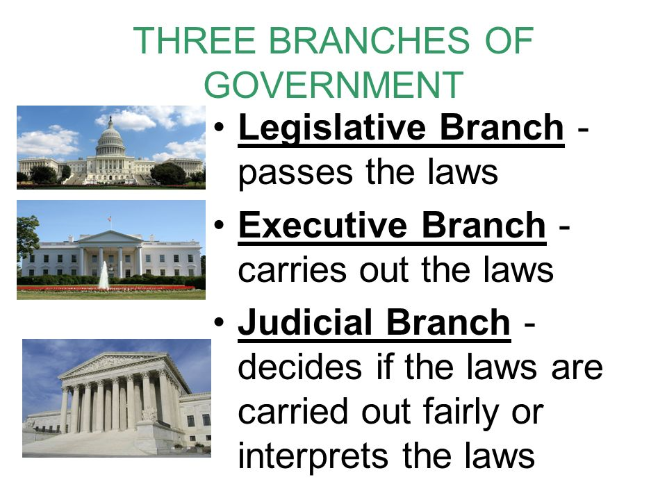 THREE BRANCHES OF GOVERNMENT Legislative Branch - passes the laws Executive Branch - carries out the laws Judicial Branch - decides if the laws are carried out fairly or interprets the laws