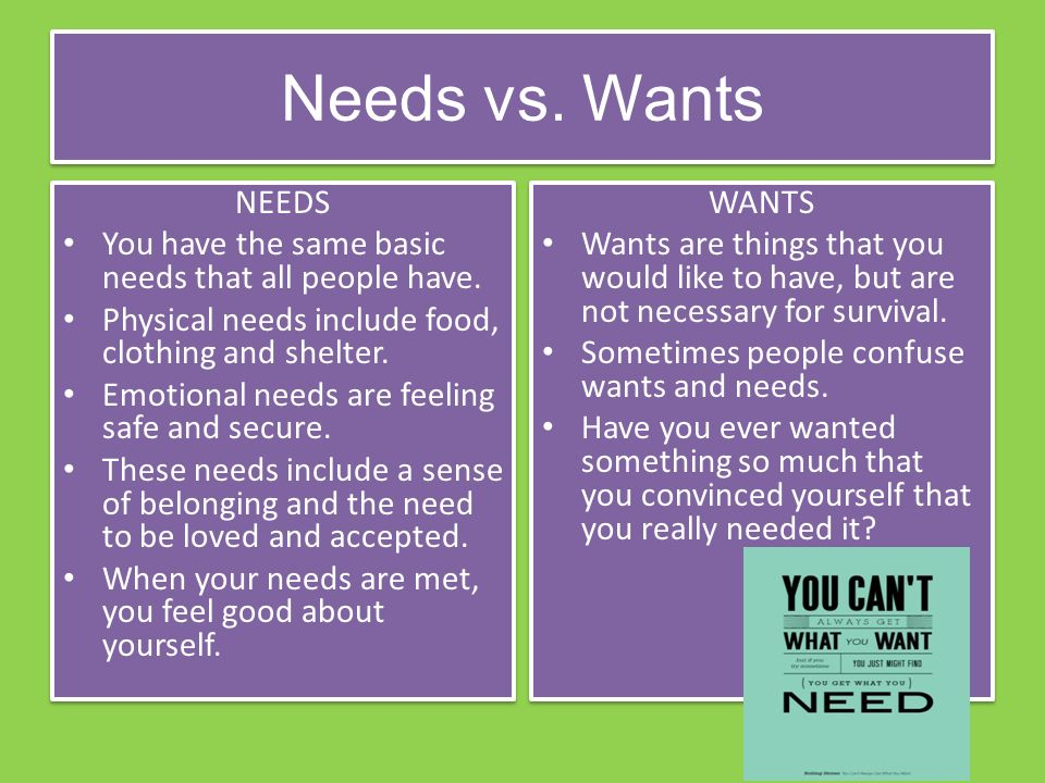Needs vs. Wants NEEDS You have the same basic needs that all people have.