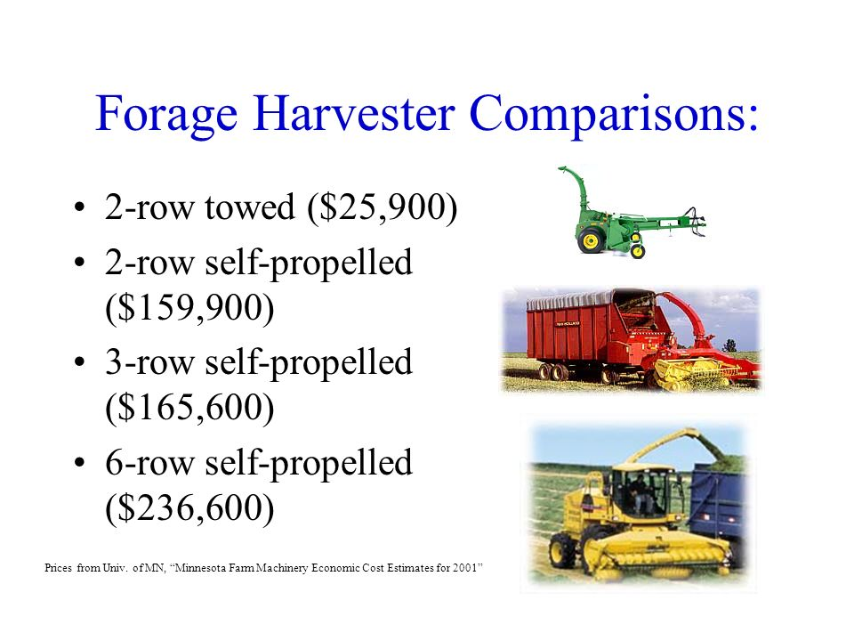 Economics of Forage Harvest and Storage Systems Forage