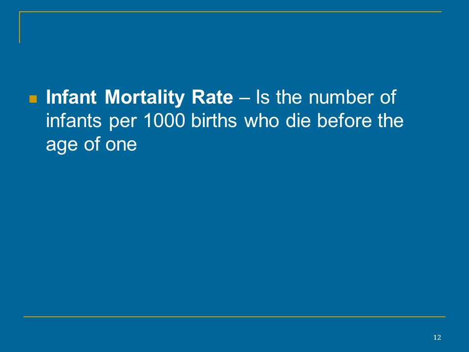 12 Infant Mortality Rate – Is the number of infants per 1000 births who die before the age of one