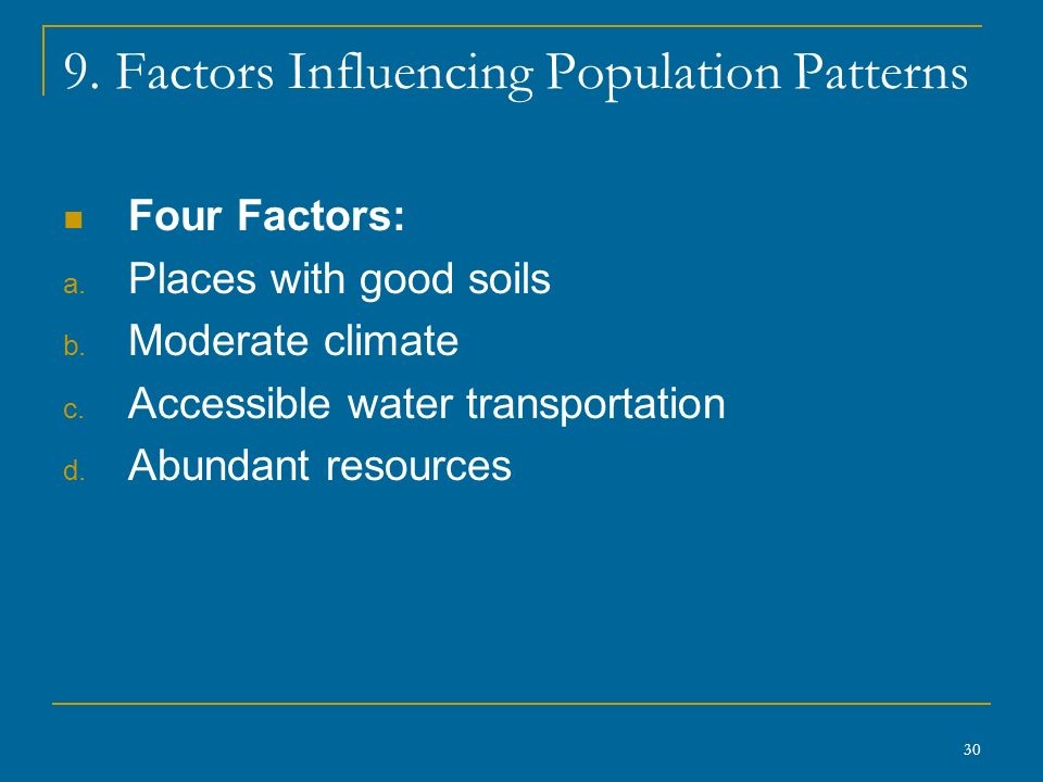 30 9. Factors Influencing Population Patterns Four Factors: a.