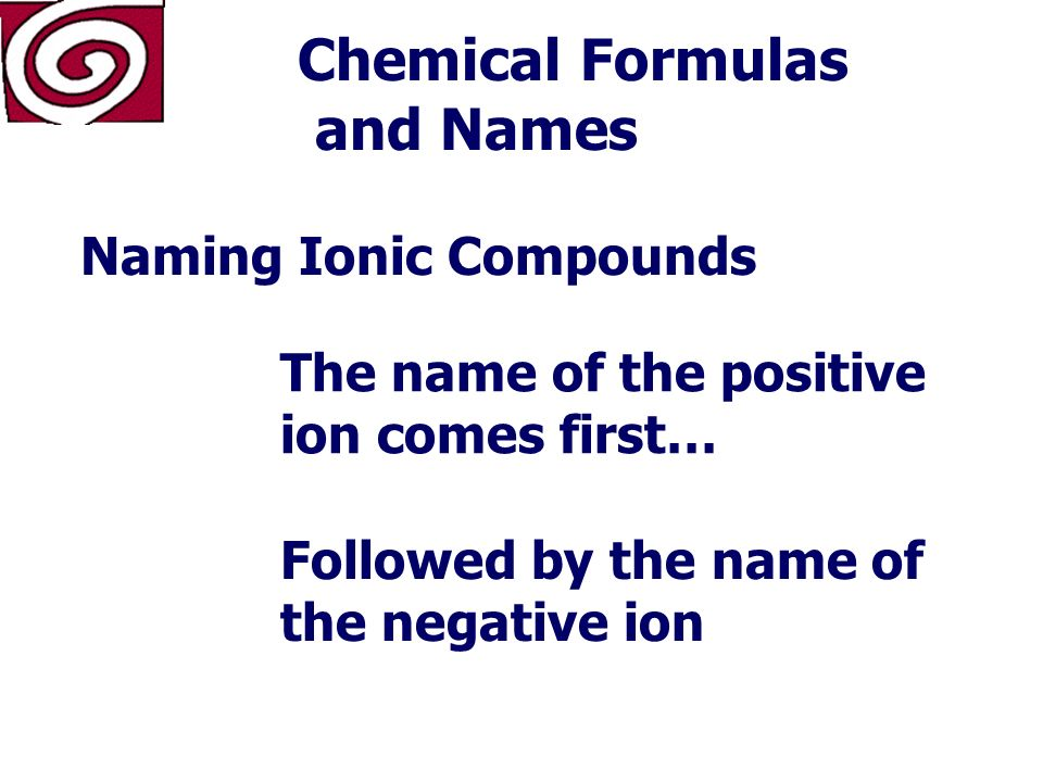 Chemical Formulas and Names Formulas of Ionic Compounds NaCl Na Cl 1+ 1-