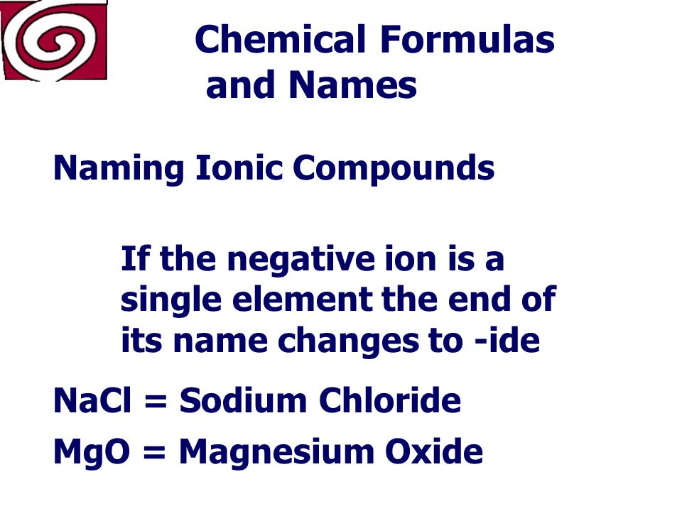 Chemical Formulas and Names Naming Ionic Compounds The name of the positive ion comes first… Followed by the name of the negative ion