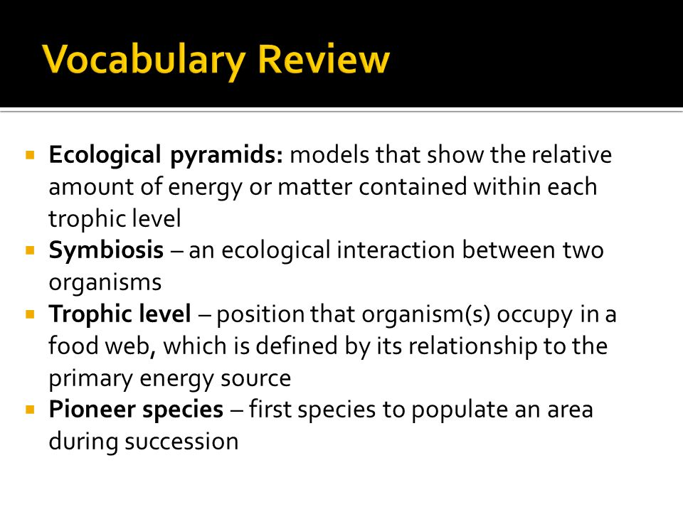  Ecological pyramids: models that show the relative amount of energy or matter contained within each trophic level  Symbiosis – an ecological interaction between two organisms  Trophic level – position that organism(s) occupy in a food web, which is defined by its relationship to the primary energy source  Pioneer species – first species to populate an area during succession