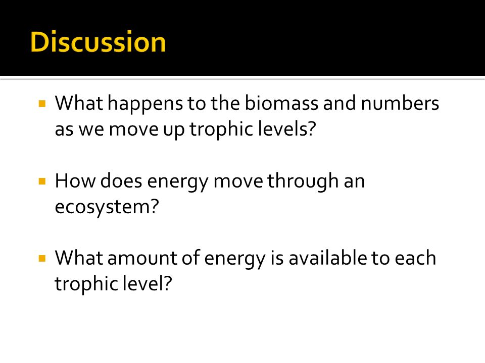  What happens to the biomass and numbers as we move up trophic levels.