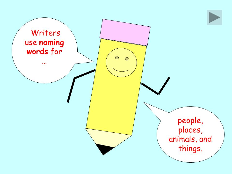 Writers use naming words for … people, places, animals, and things.