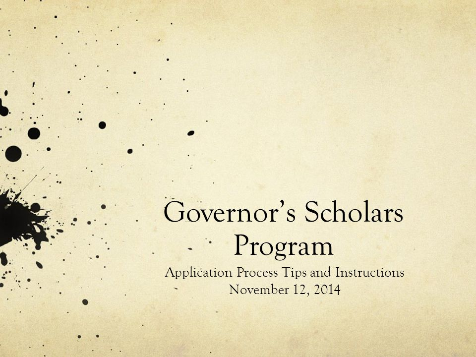 Governor's Scholars Program Application Process Tips and