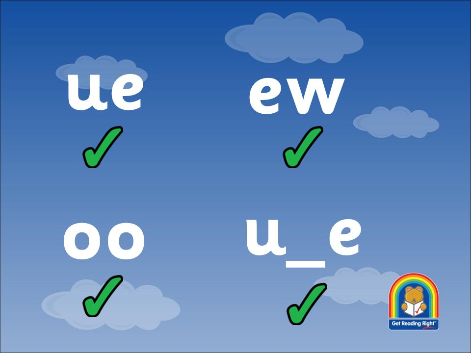 UNIT 6 ue oo ew u_e  Day 1 What we're learning: To read words
