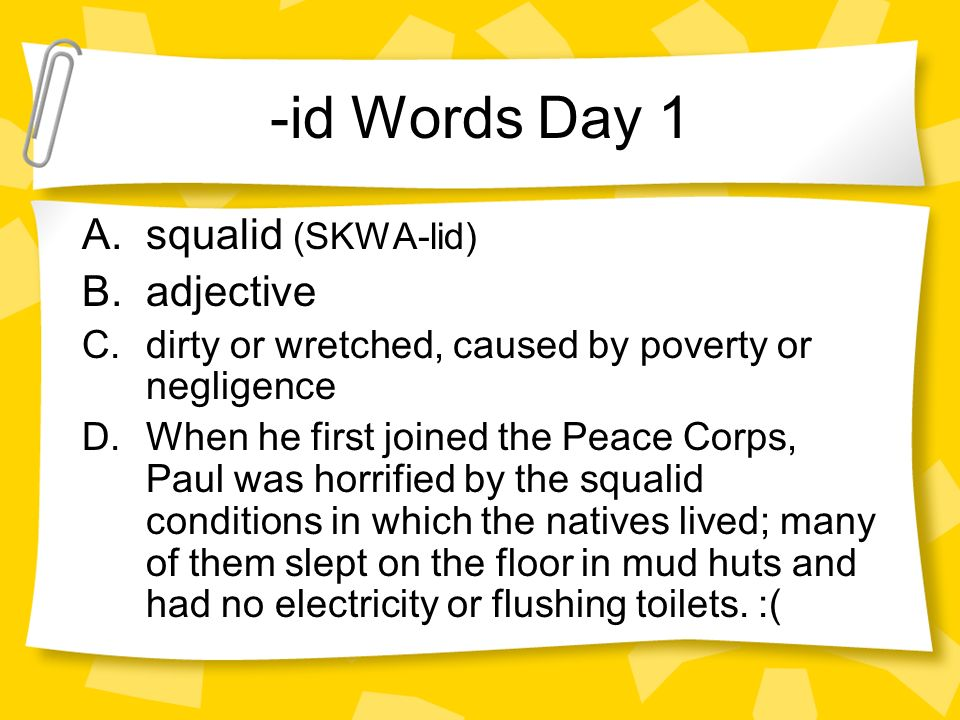 Words Of The Day St Semester Id Words Day 1 Asqualid Skwa Lid B