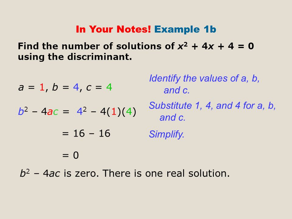 In Your Notes. Example 1b Find the number of solutions of x 2 + 4x + 4 = 0 using the discriminant.