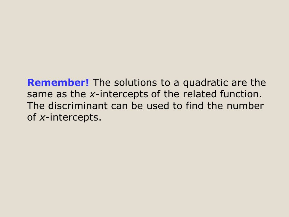 Remember. The solutions to a quadratic are the same as the x-intercepts of the related function.