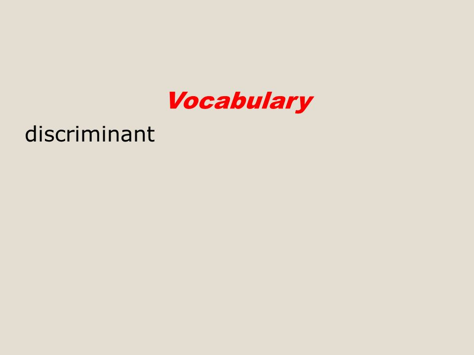 discriminant Vocabulary