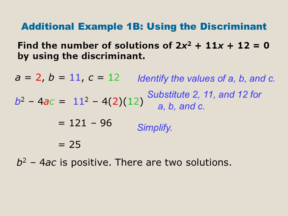 Additional Example 1B: Using the Discriminant Find the number of solutions of 2x x + 12 = 0 by using the discriminant.