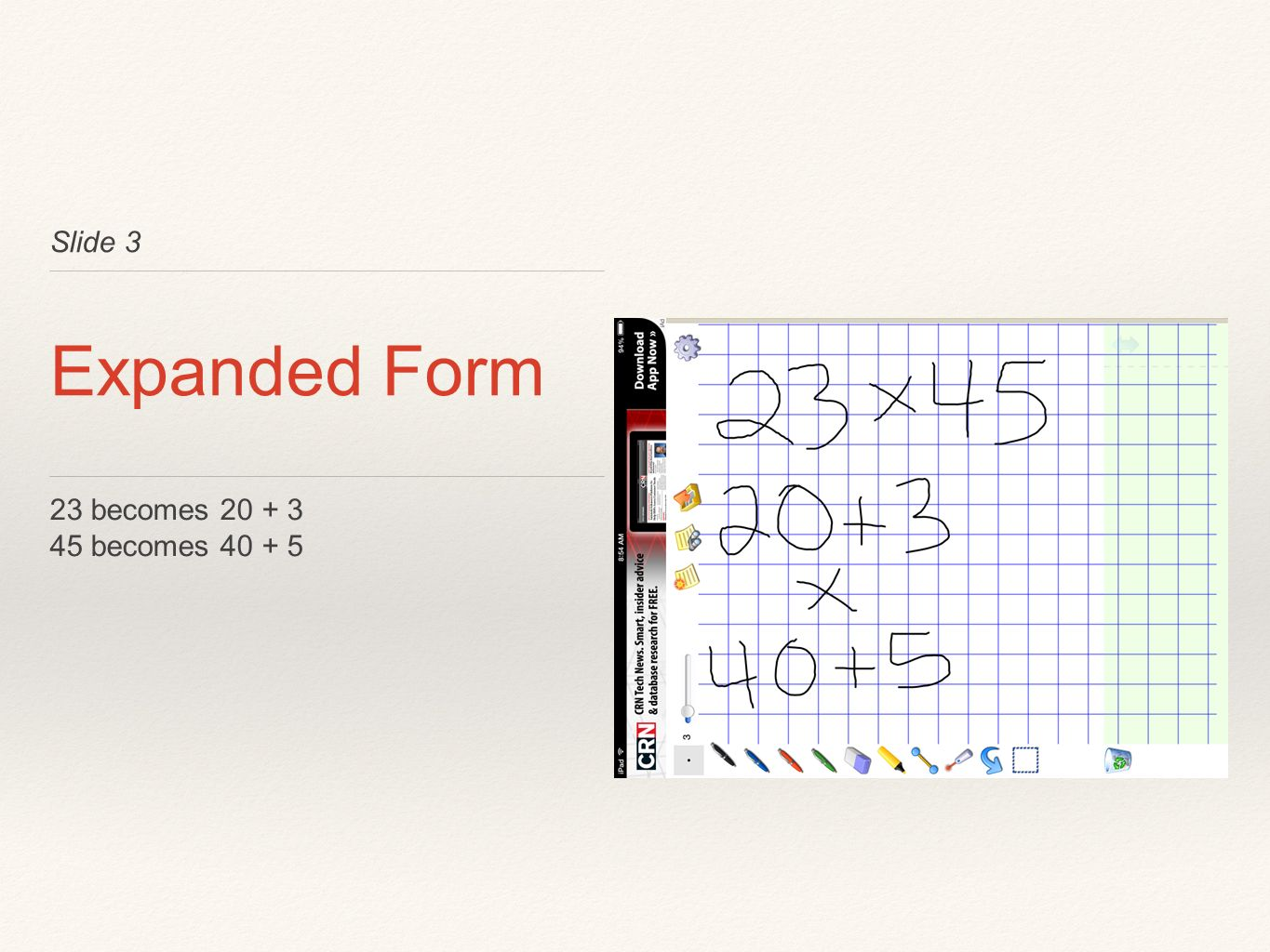 Slide 3 Expanded Form 23 becomes becomes