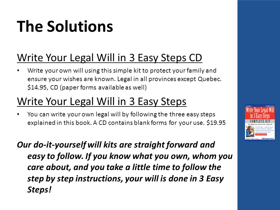 Us template wills and estate planning program q ppt download the solutions write your legal will in 3 easy steps cd write your own will using solutioingenieria Gallery