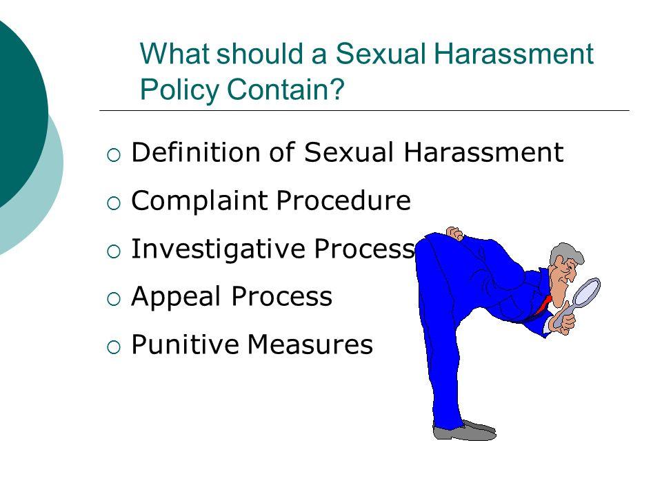 Define complaint procedure for sexual harassment