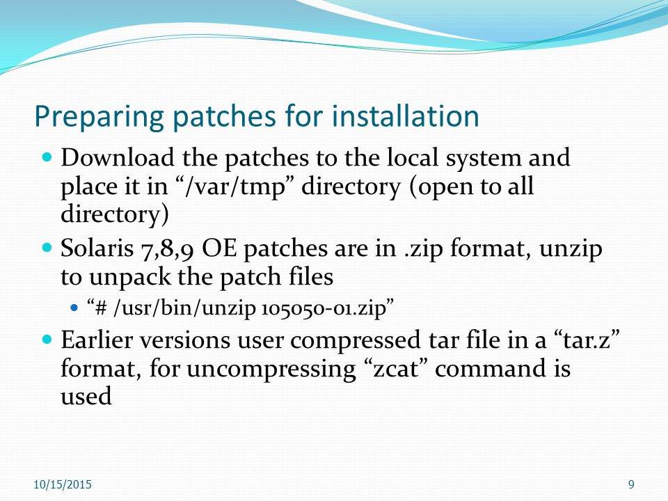 Managing Software Patches 10/15/ Introducing Solaris OE